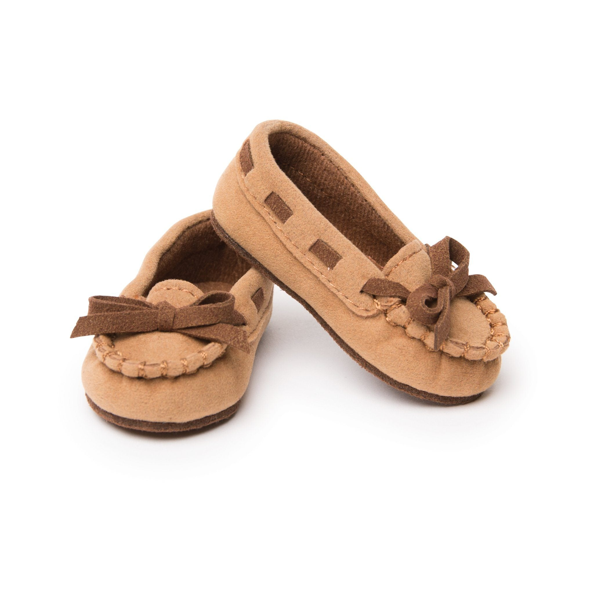 Walkin in Mocassins tan moccasin shoes with brown accents fit all 18 inch dolls.