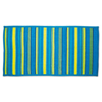 Watercolour Waves blue yellow and green striped terry towel fits all 18 inch dolls.