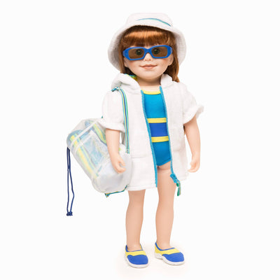 Watercolour Waves white terry beach cover-up with striped hood lining, terry hat, white mesh beach bag, blue sunglasses and striped terry towel fits all 18 inch dolls.