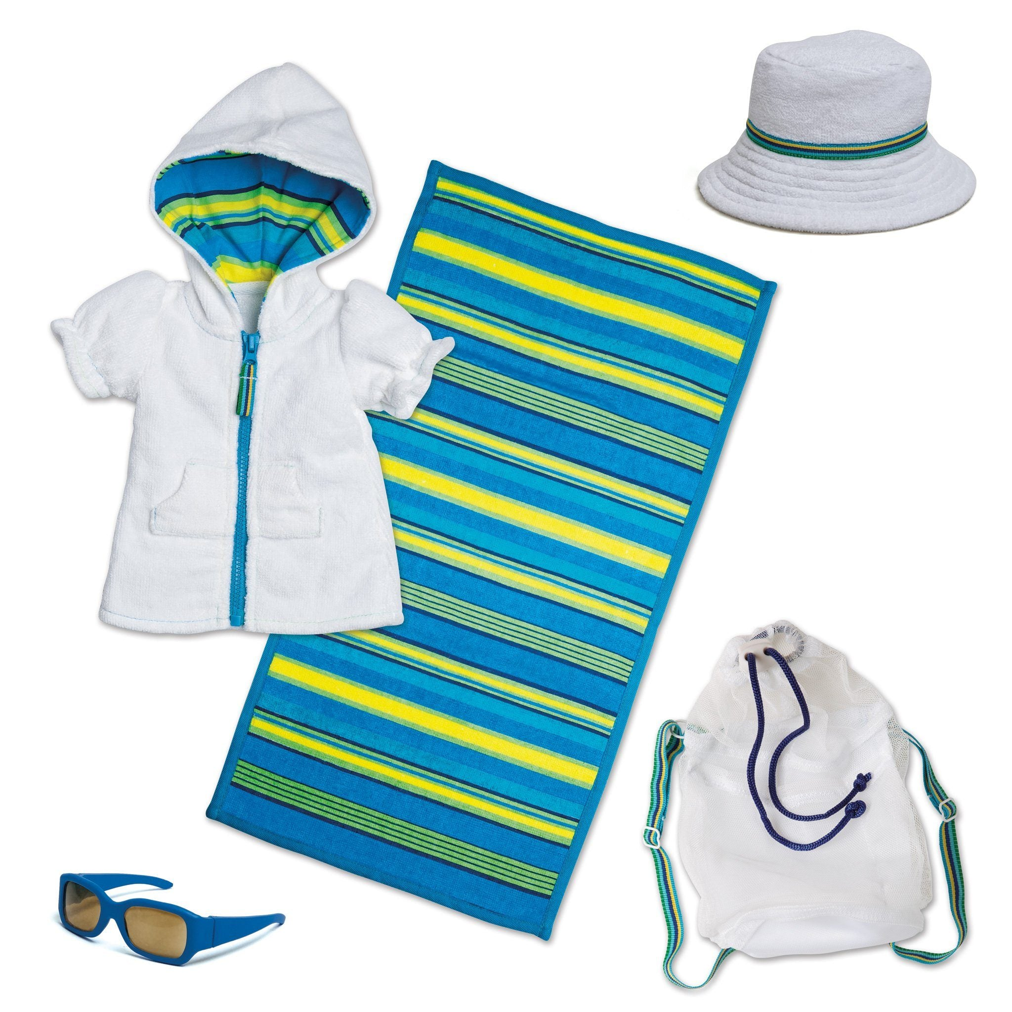 Watercolour Waves whit terry beach cover-up with striped hood lining, terry hat, white mesh beach bag, blue sunglasses and striped terry towel fits all 18 inch dolls.
