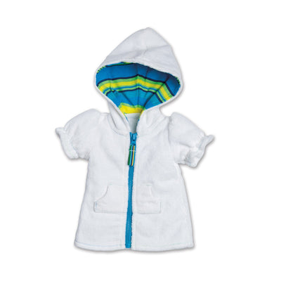 Watercolour Waves white terry beach cover-up with striped hood lining fits all 18 inch dolls.