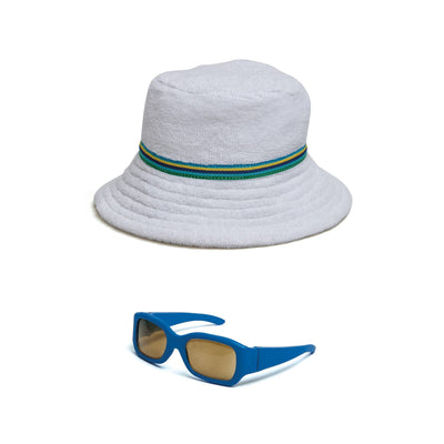 Watercolour Waves white terry beach hat and blue sunglasses fits all 18 inch dolls.