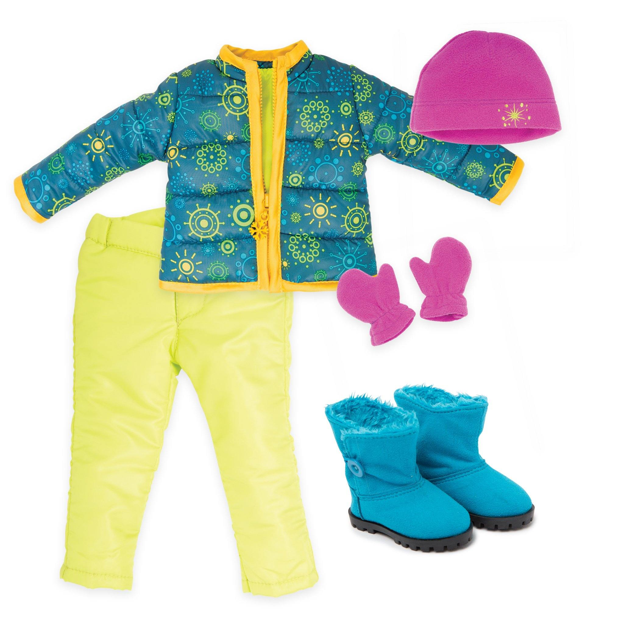 Weekend at Whistler funky snowflake patterned teal jacket with yellow trim, bright green snow pants, pink fleece toque and mittens, blue fuzzy winter boots fit all 18 inch dolls.
