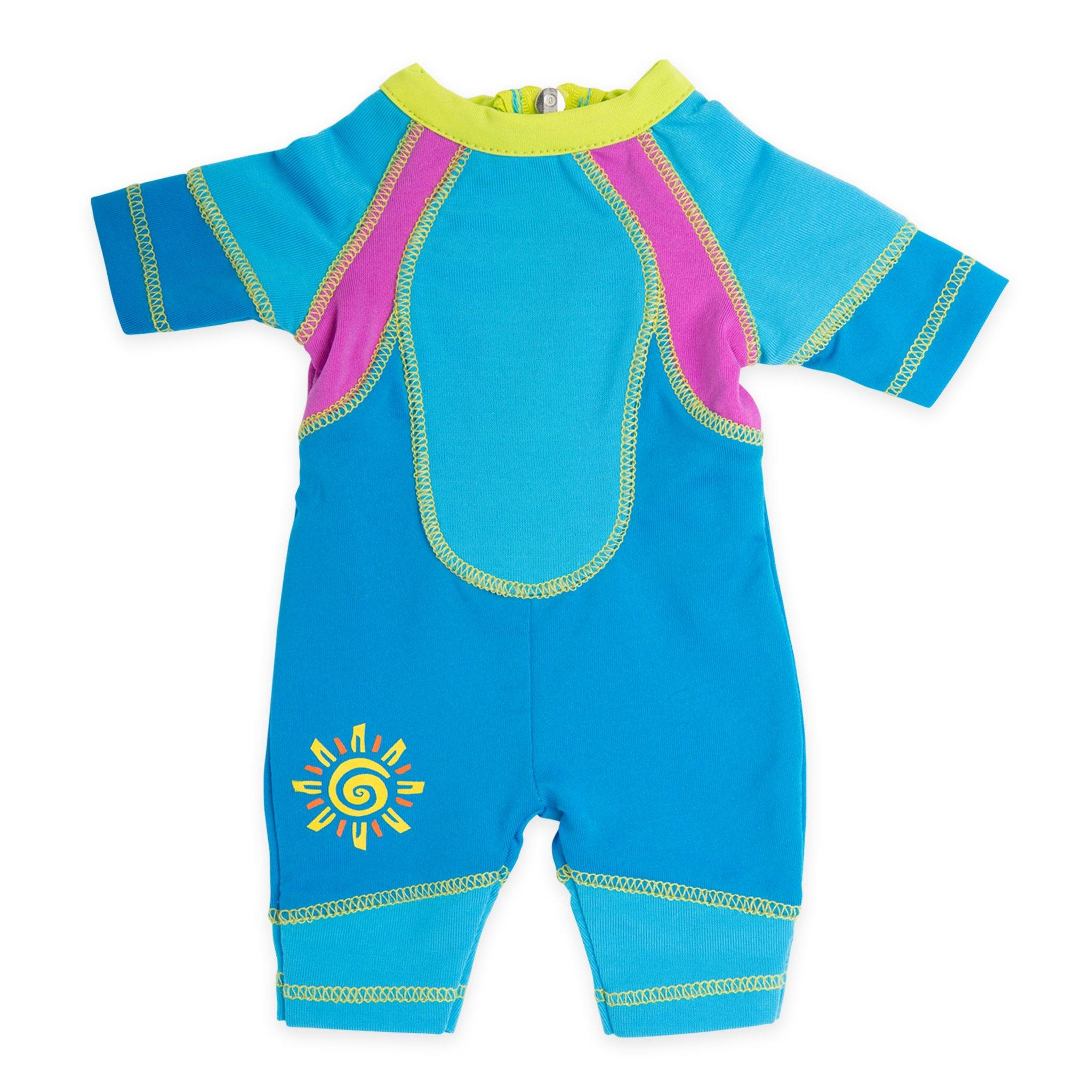 West Coast Waterwear two-tone blue wetsuit with bright green collar, sun graphic and pink accent fits all 18 inch dolls.