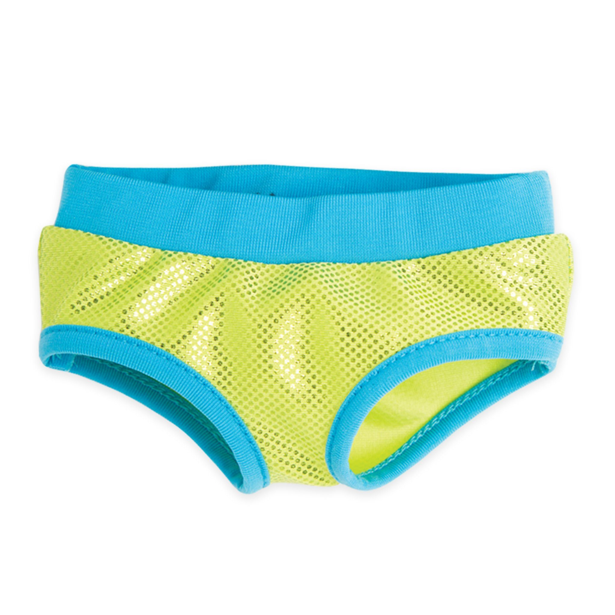 West Coast Waterwear sparkly green bathing suit bottom with blue trim fits all 18 inch dolls.
