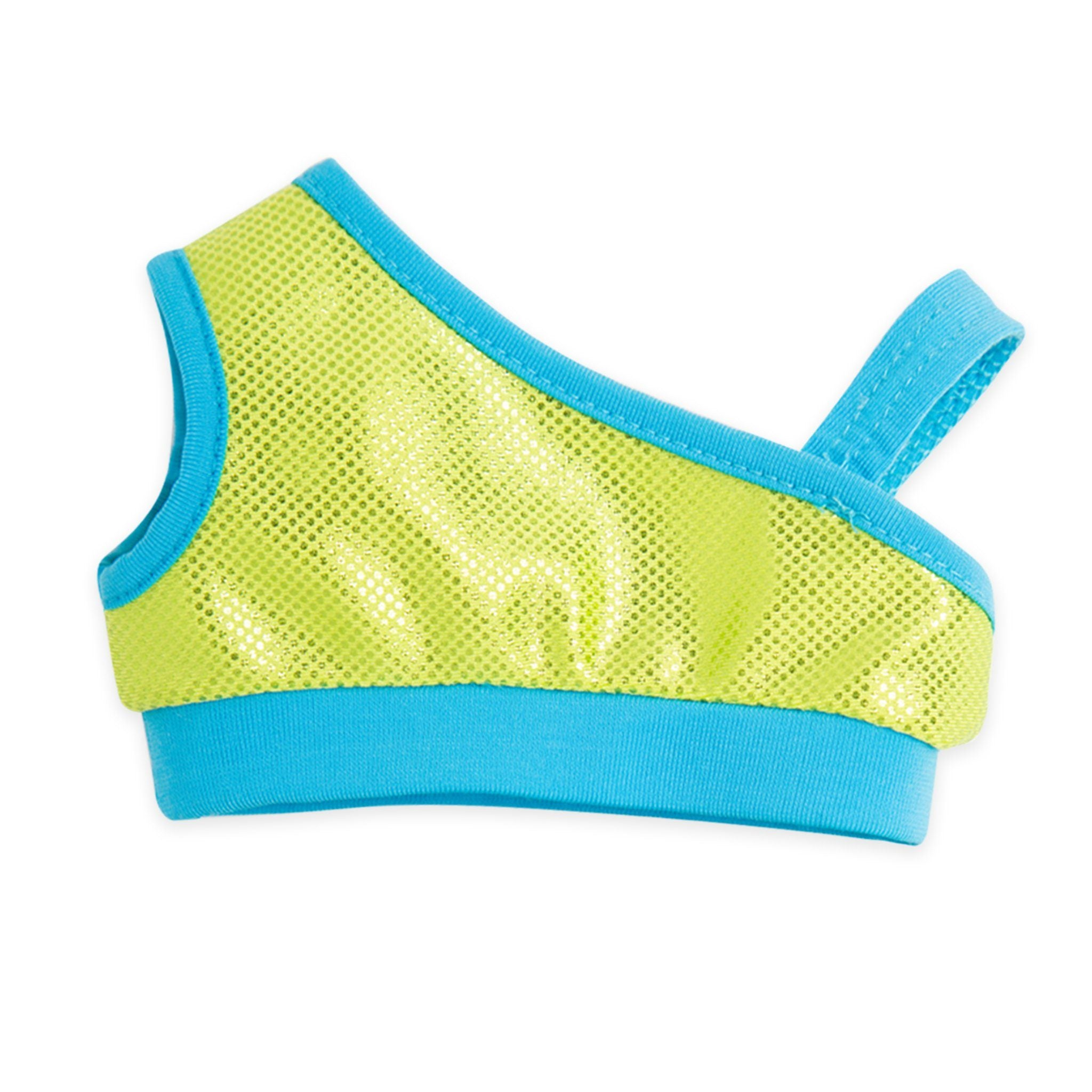 West Coast Waterwear asymmetric sparkly green bathing suit top with blue trim fits all 18 inch dolls.