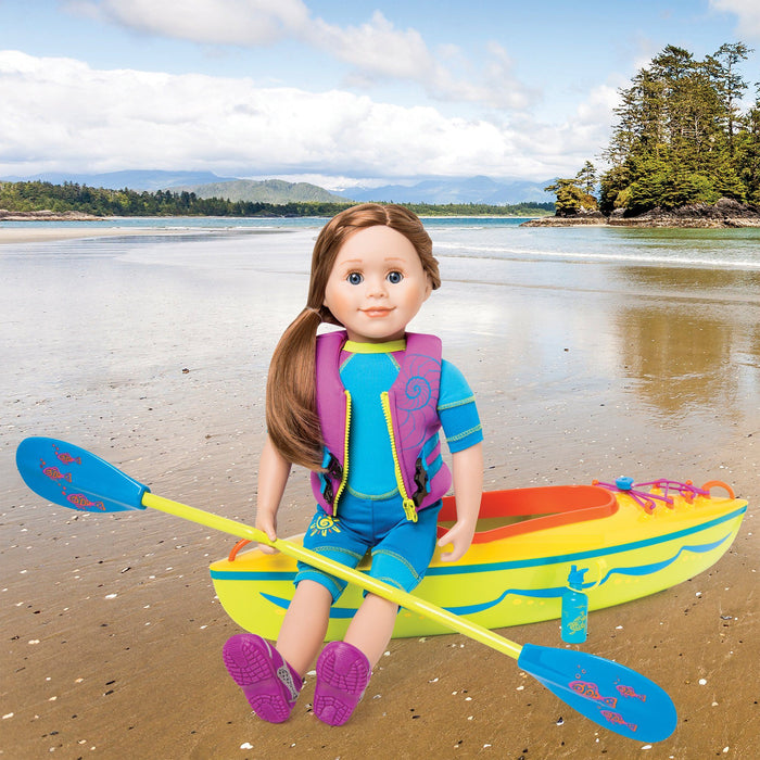 West Coast Waterwear two-piece sparkly green bathing suit with blue trim, two-tone blue wetsuit with sun graphic and pink accent fits all 18 inch dolls.