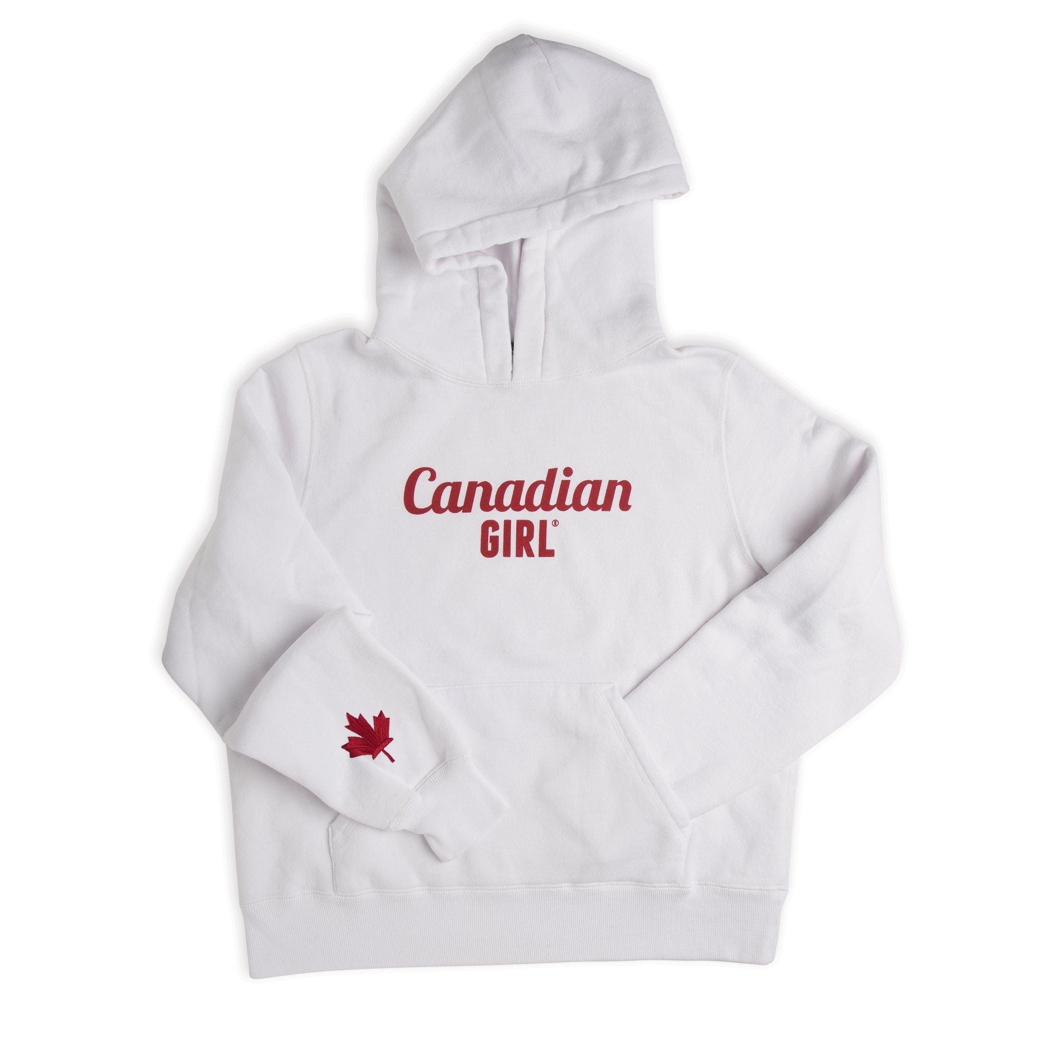 White Canadian Girl hoody in varying sizes for girls.