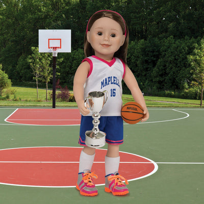 Winner's Circle silver trophy shown on KMF friends doll with KM91 slam dunk.