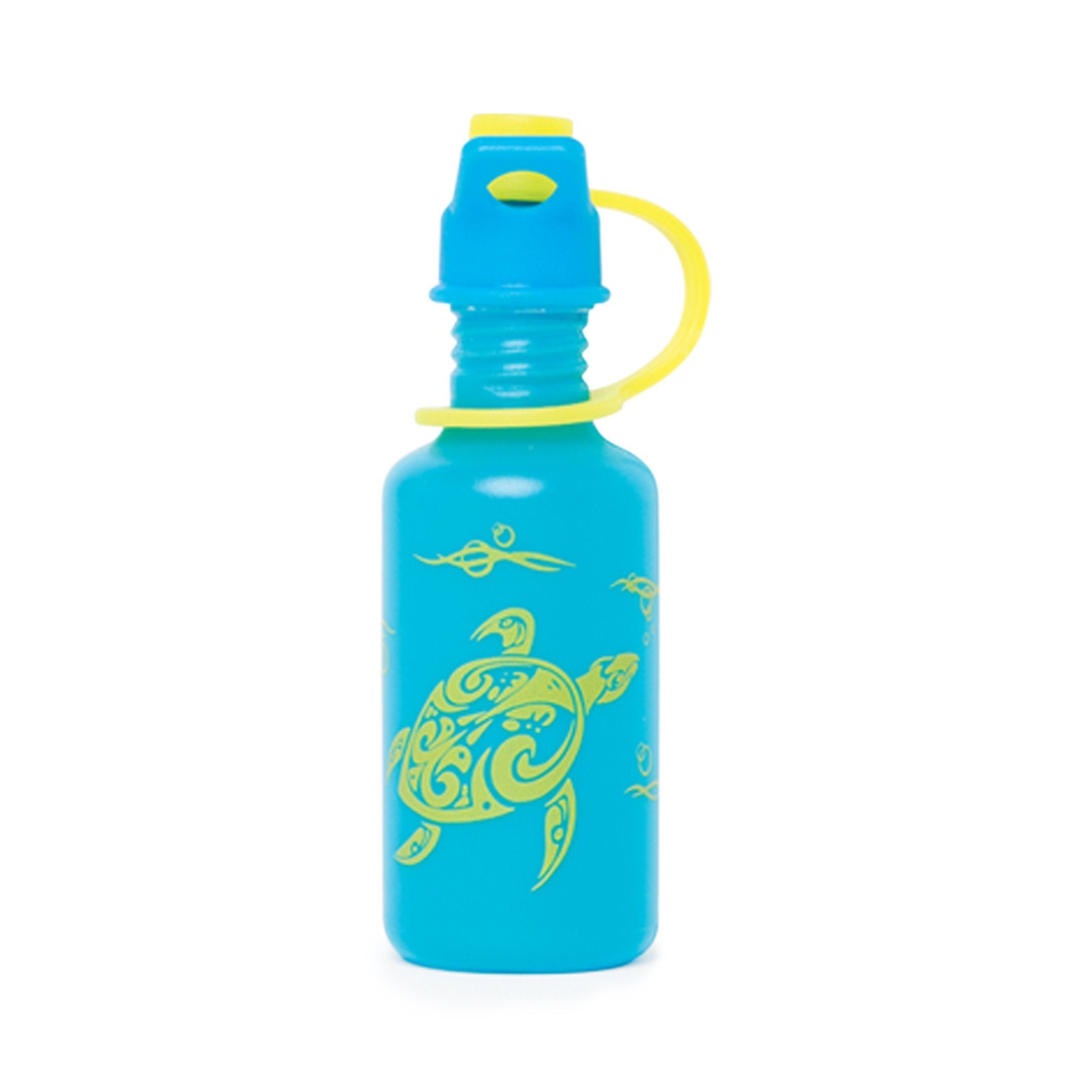Blue water bottle with sea turtle graphic fits all 18 inch dolls.