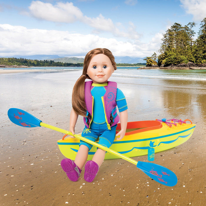 Yellow, green, orange and blue kayak set with blue and green paddle, blue water bottle with sea turtle graphic and 16-page booklet. Fits all 18 inch dolls.  Shown with KC1 Charlsea doll wearing KC9 West Coast Waterwear and KM89 Ride the Tide PFD.