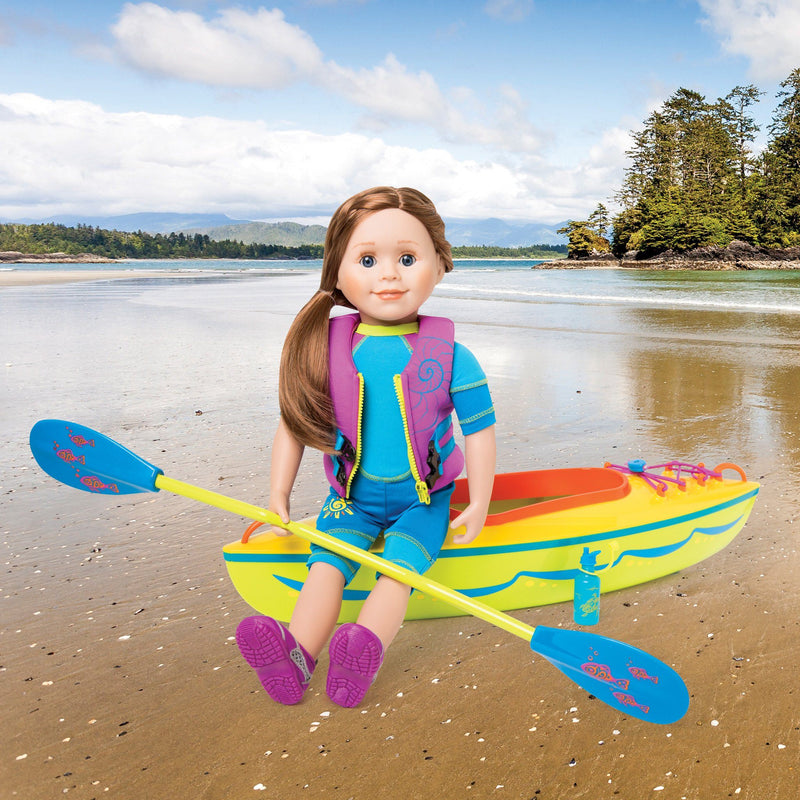 Yellow, green, orange and blue kayak set with blue and green paddle, blue water bottle with sea turtle graphic and 16-page booklet. Fits all 18 inch dolls.