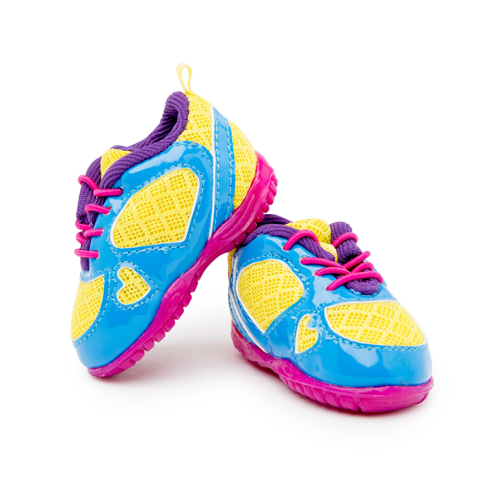 Yoho Trainer yellow, blue, purple and pink multi-colour bright fun running shoes fit all 18 inch dolls.