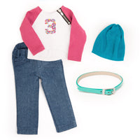 Zippity Do long sleeved athletic shirt with dark pink sleeves and zipper detail, denim pants, teal slouchy hat and shiny mint green belt fits all 18 inch dolls.