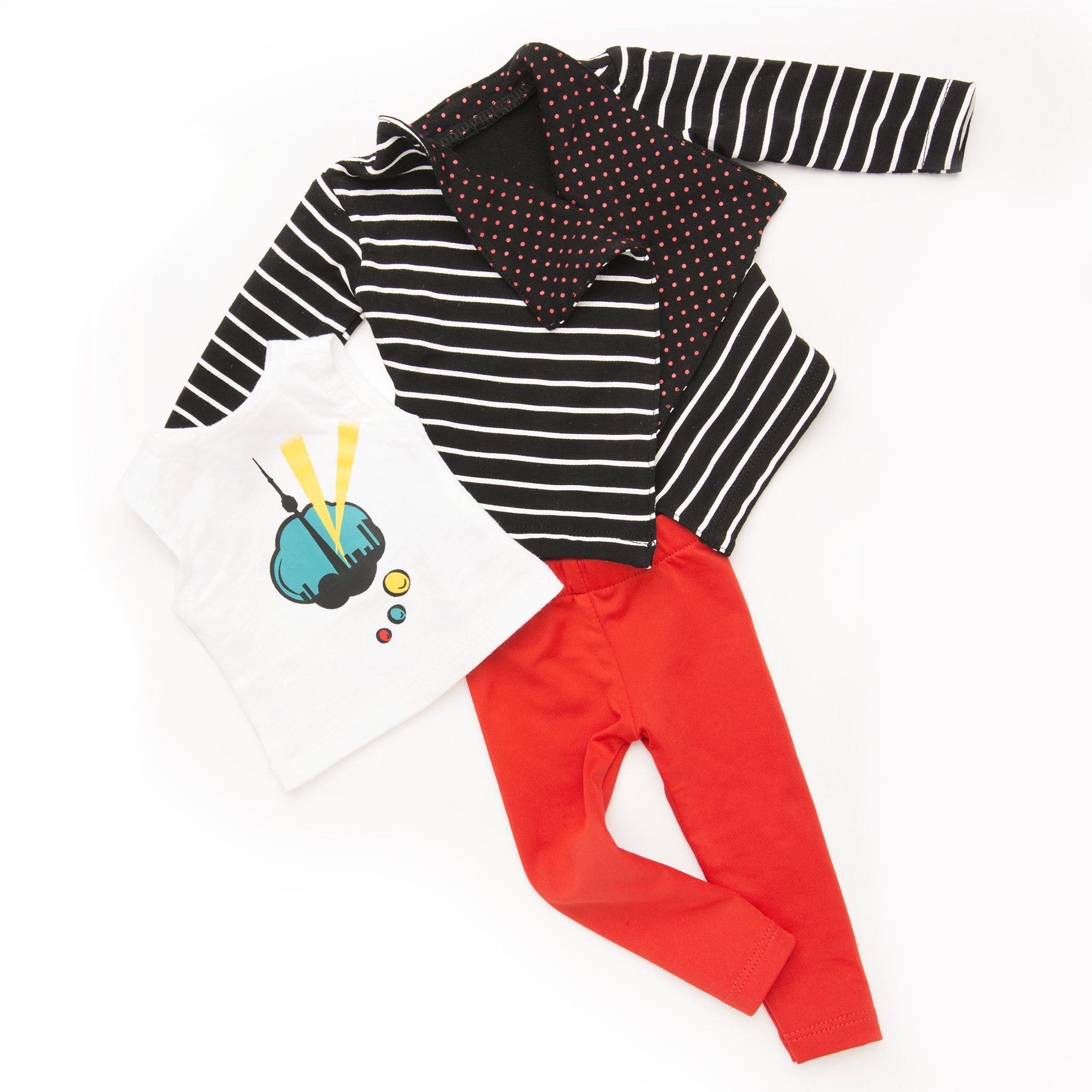 Art of the city black and white striped sweater, white shirt with comic-inspired Toronto skyline graphic, red tights fits all 18 inch dolls