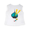 Art of the city white sleeveless shirt with comic-inspired Toronto skyline graphic fits all 18 inch dolls.