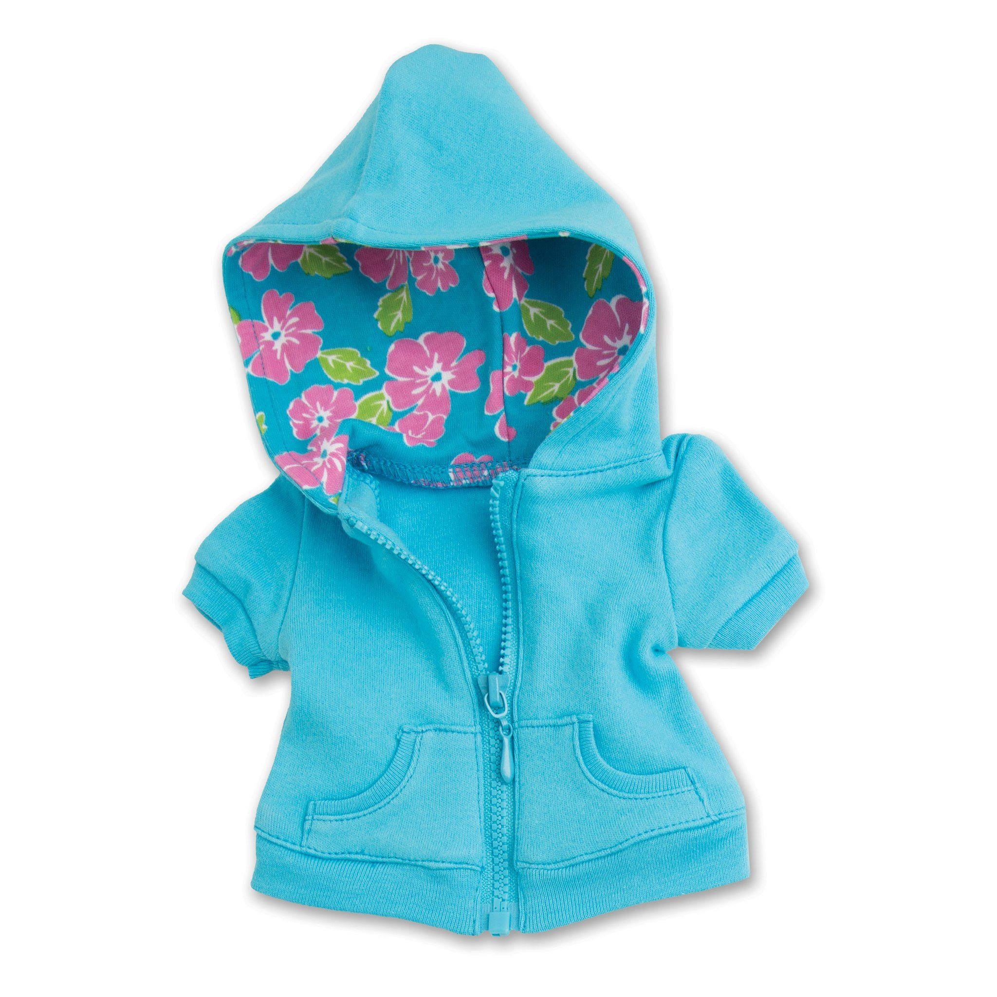 Awesome Blossom 4 piece outfit blue short sleeved floral-llned hoody fits all 18 inch dolls.