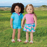 Awesome Blossom 4 piece outfit blue shorts, pink sleeveless top, blue short sleeved hoody and floral skirt fits all 18 inch dolls.