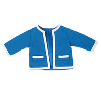 Blue jacket with white trim fits all 18 inch dolls