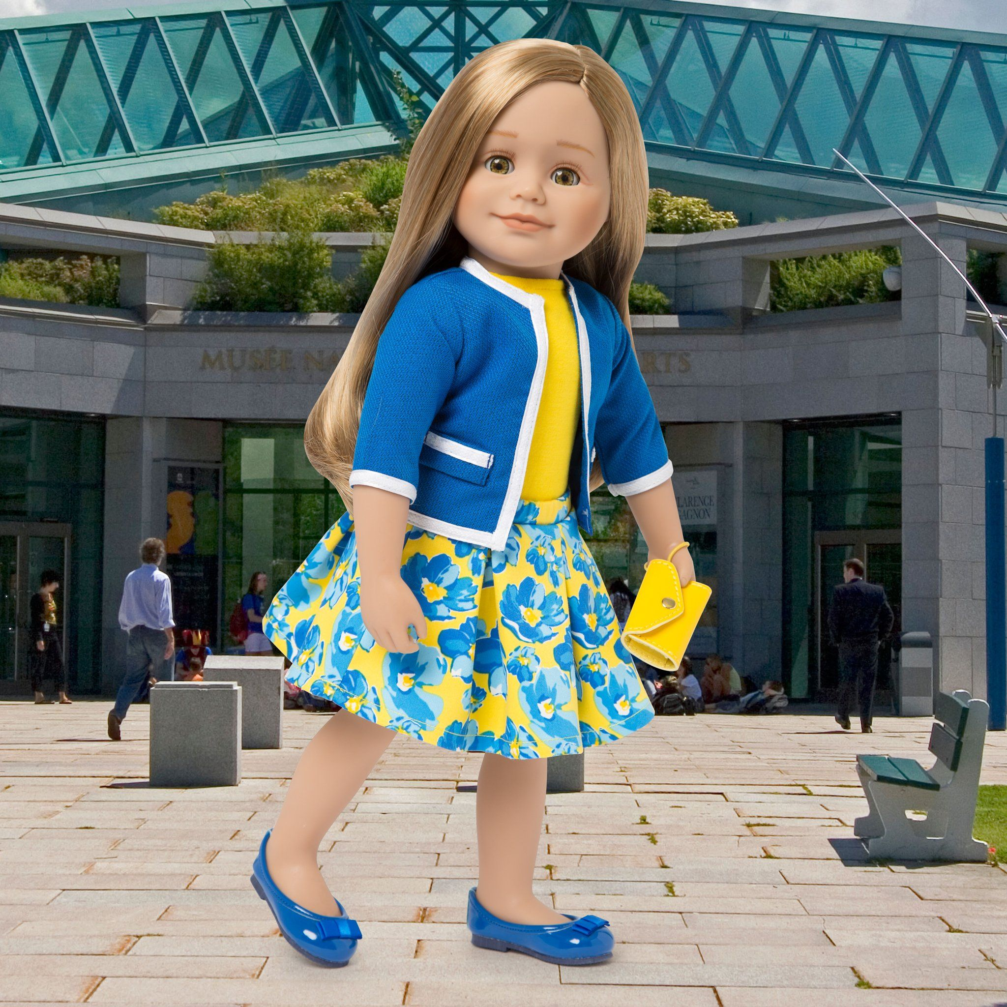 e3007a01c ... yellow Blue jacket with white trim, yellow top, blue and yellow floral  skirt, yellow ...