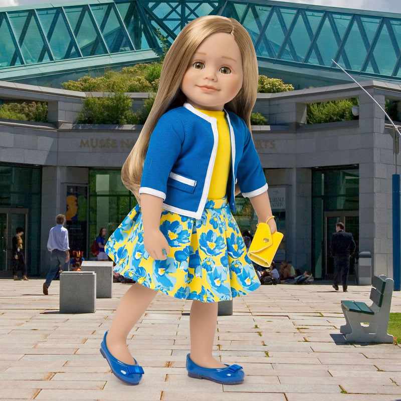 Blue jacket with white trim, yellow top, blue and yellow floral skirt, yellow wristlet and blue flats fits all 18 inch dolls