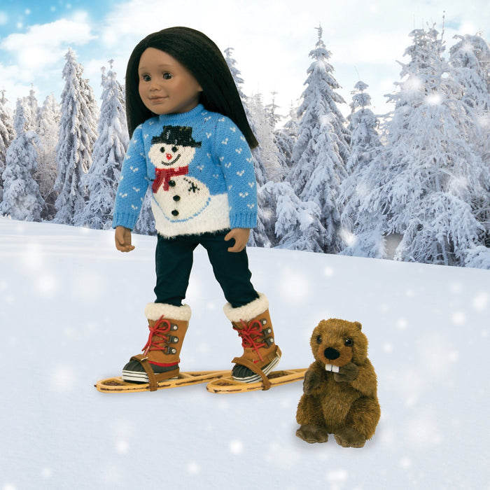 Beaver and snowshoe set for all 18 inch dolls, shown on a Maplelea doll with a snowy background