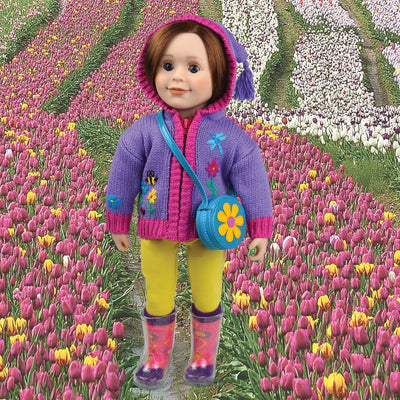 Purple knit hooded zip-up sweater with tassel embroidered flower bee and butterfly yellow leggings and flower purse for 18 inch dolls