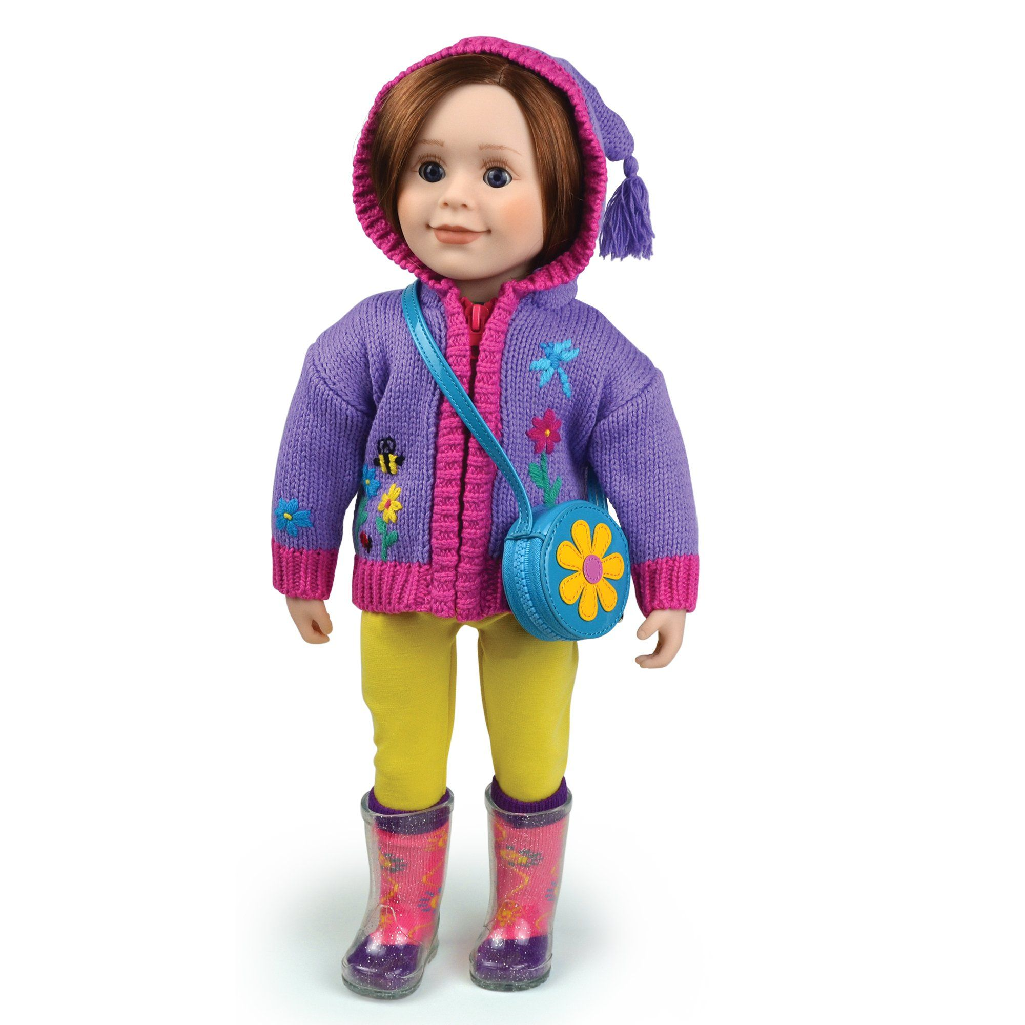 Purple knit hooded zip-up sweater with tassel embroidered flower bee and butterfly yellow leggings and flower purse for 18 inch dolls.