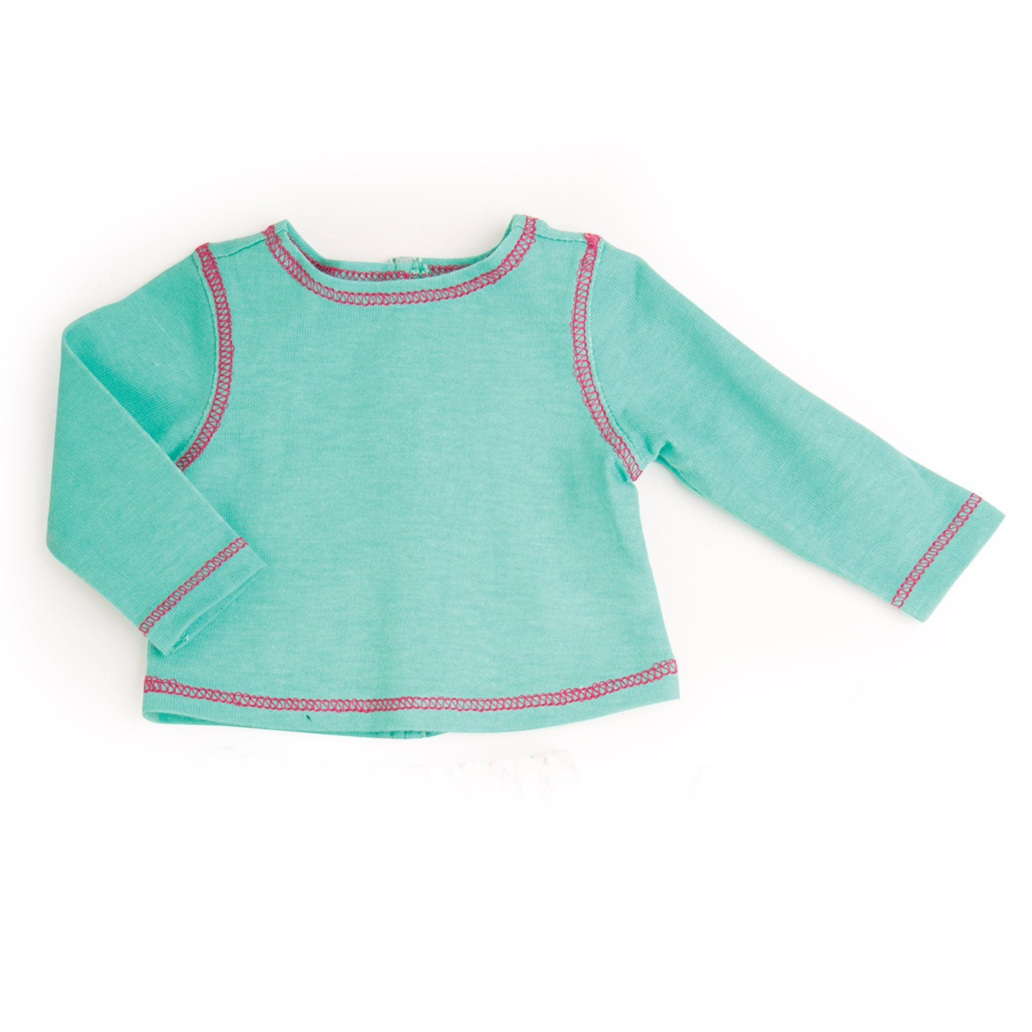 Casual mint green long-sleeve tee with pink stitching fits all 18 inch dolls.