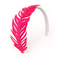 Bright pink feather hairband fits all 18 inch dolls.