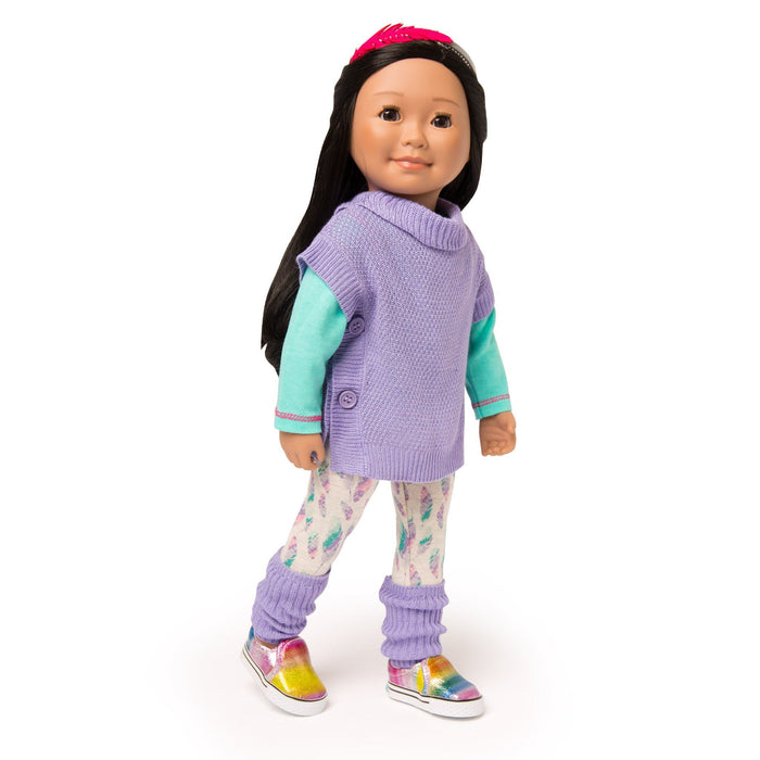 Casual outfit feather watercolour pattern tights, mint green long-sleeve tee, purple tunic sweater and leg warmers with pink feather hairband fits all 18 inch dolls.