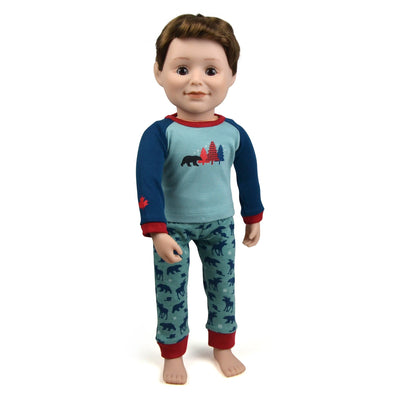 18 inch boy doll wearing Blue Spruce Canadian themed pajamas teal and red  pj pants with bear and moose pattern pyjamas matching the whole family