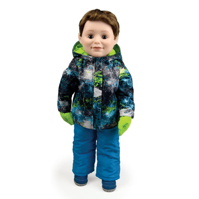 18 inch boy doll  wearing teal and green snowsuit with mittens and boots