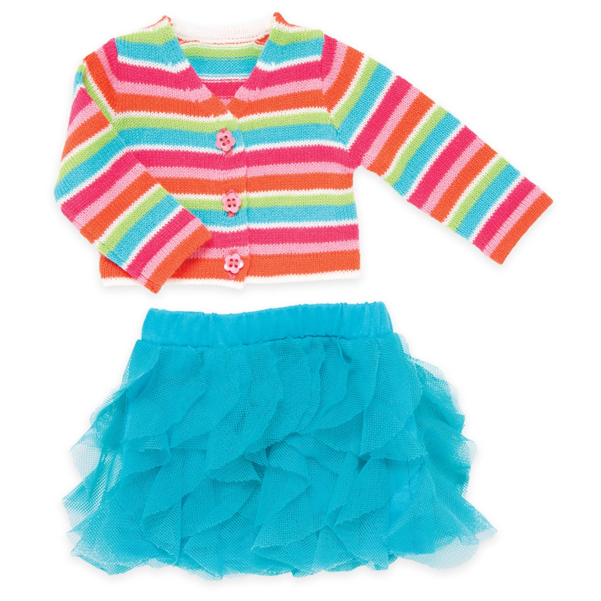 Bright colourful striped button-up sweater, blue ruffle skirt fits all 18 inch dolls.