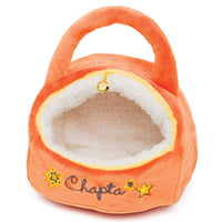 Plush Bengal cat Chapta's orange plush cat house for all 18 inch dolls.