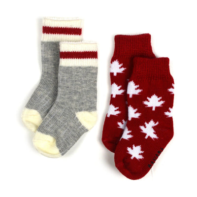 Dolls socks in grey with red stripe, and with mapleleaves.  Matching socks for kids also available.