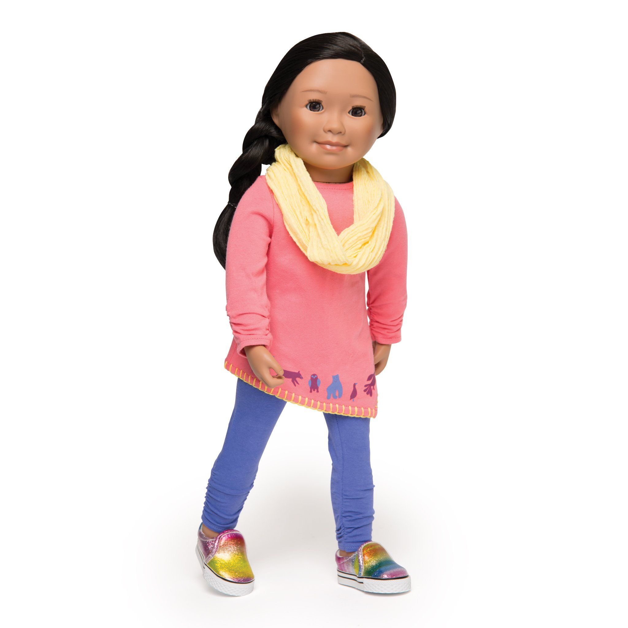 Artfully Inspired casual outfit pink tunic long sleeve shirt with Inuit art hem, purple tights and yellow infinity scarf fits all 18 inch dolls.