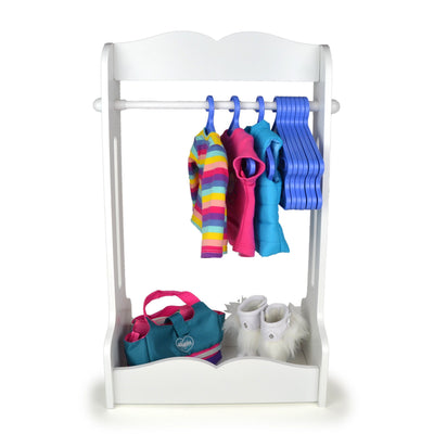 Clothing rack for 18 inch dolls with hanging bar 10 hangers and storage base scene