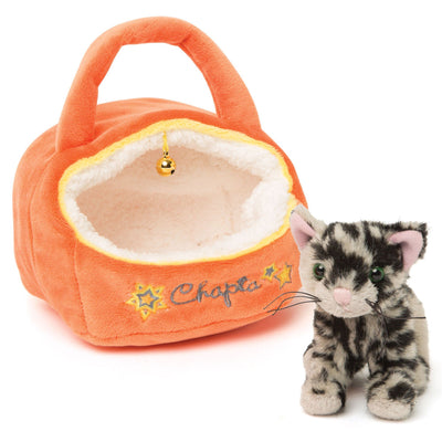 Bengal cat Chapta and his orange plush cat house for Maplelea doll Alexi. Fits all 18 inch dolls.