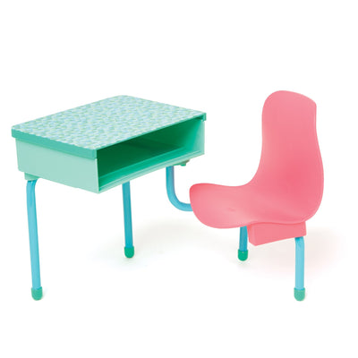 School Desk and Locker set pink and teal desk with swivelling chair fits all 18 inch dolls.