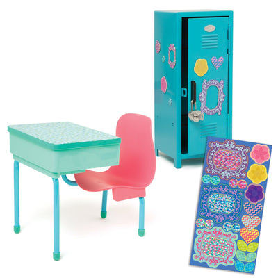 School Desk and Locker set includes blue metal locker with heart-shaped lock, decorative magnets, pink and teal desk with swivelling chair fits all 18 inch dolls.