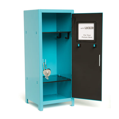 School Desk and Locker set includes blue metal locker with heart-shaped lock fits all 18 inch dolls.