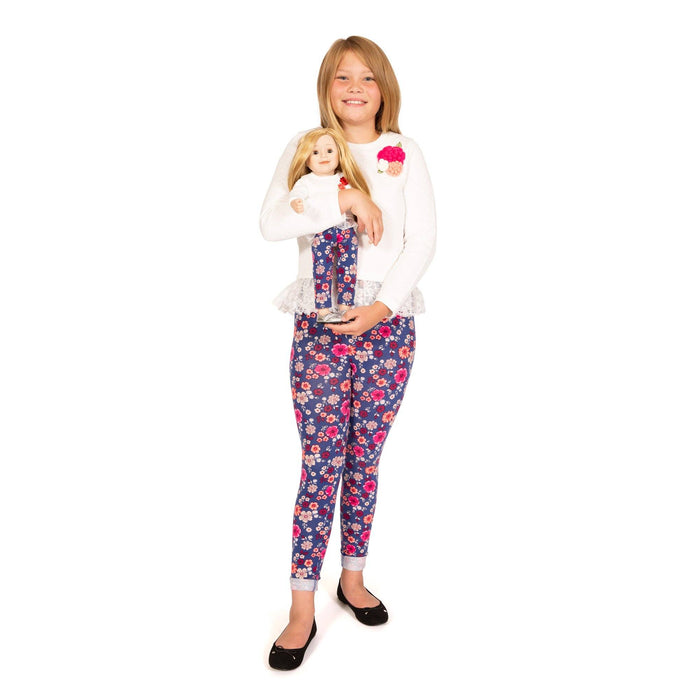 Girl and Doll Set: Ivory Long Sleeve Top, Floral Leggings