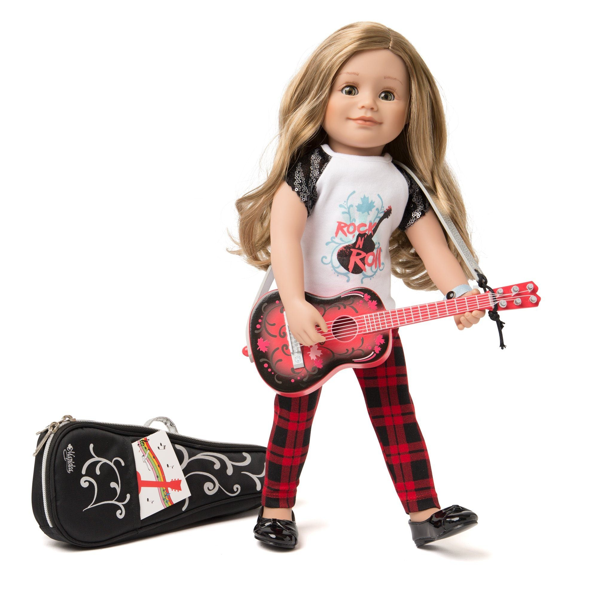 Maplelea wooden guitar with 18 inch doll.  Includes carrying case and music book.