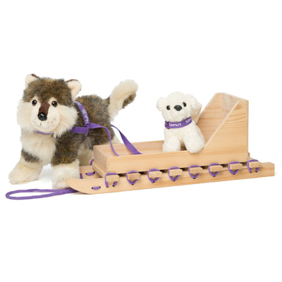Qamutiik traditional Inuit sled for 18 inch dolls show with plush Inuit dog sold separately.