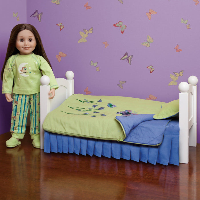 Green and purple butterfly bedding for Maplelea doll Taryn. Shown on KM1 Maplelea doll bed. Shown with Taryn in her bedroom.