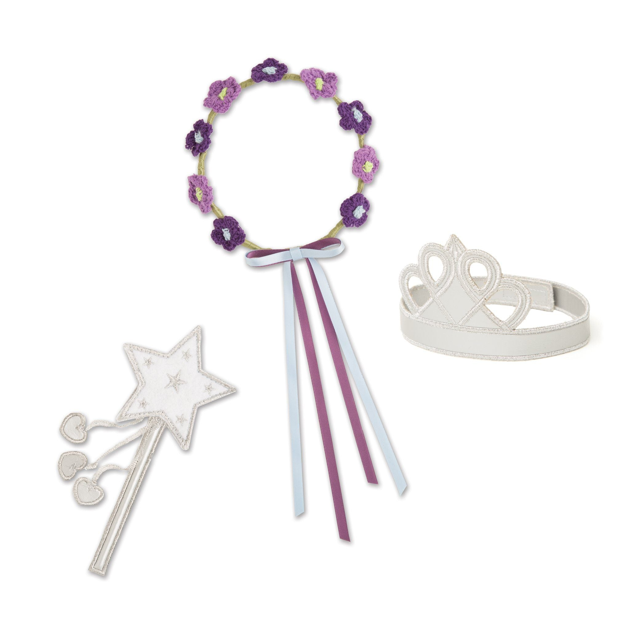 Flight of Fantasy costume fairy magic wand, silver tiara and wings, flower wreath for 18 inch dolls.