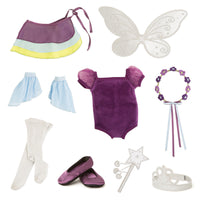 9 costume pieces so you 18 inch doll can be a fairy, princess, dancer or skater.
