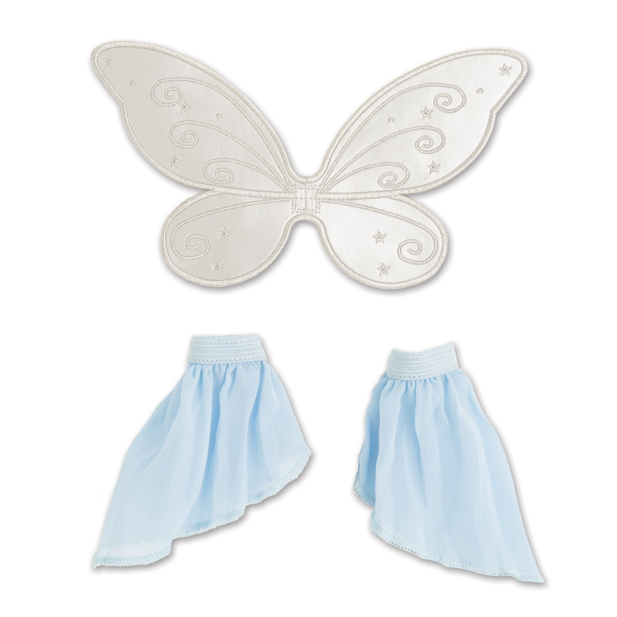 Flight of Fantasy costume fairy princess flow blue arm bands silver wings fits all 18 inch dolls.