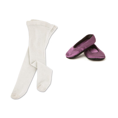 Flight of Fantasy costume fairy princess purple slippers and white tights fits all 18 inch dolls.